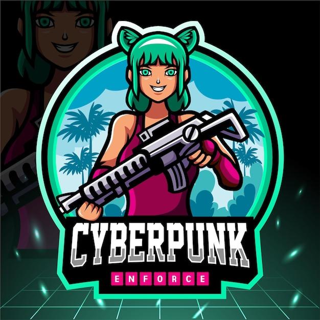 Cyber punk mascotte. esport-logo Premium Vector