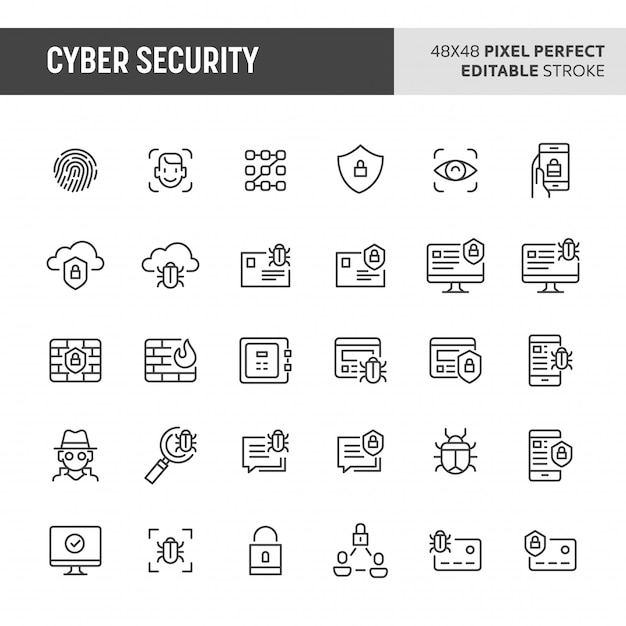 Cyber security icon set Premium Vector