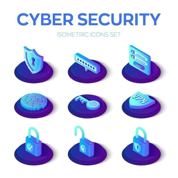 Cyber security pictogrammen instellen Premium Vector
