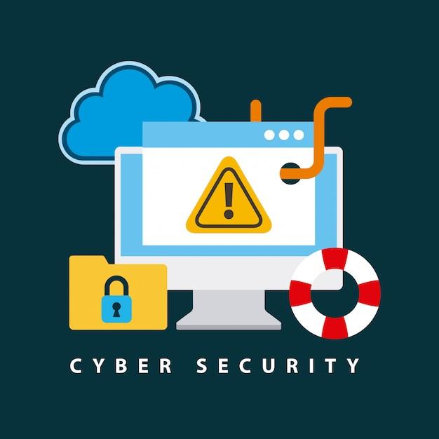 Cyber security technologie illustratie Gratis Vector