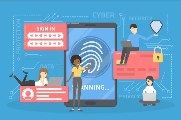 Cyber veiligheidsconcept. idee van digitale gegevensbescherming en veiligheid. moderne technologie en virtuele misdaad. toegang tot informatie via wachtwoord of vingerafdruk. illustratie Premium Vector