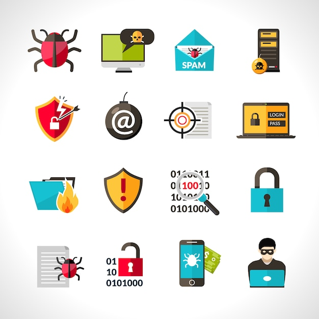Cyber virus icons set Gratis Vector