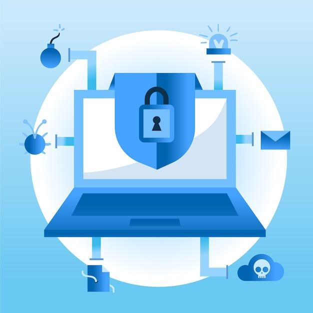 Cyberaanvalconcept met hangslot Gratis Vector