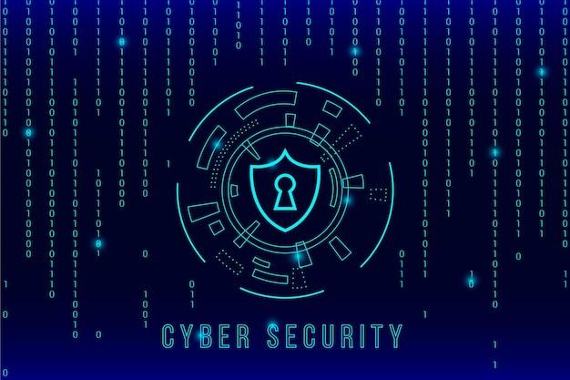Cyberbeveiliging en matrixeffect Gratis Vector