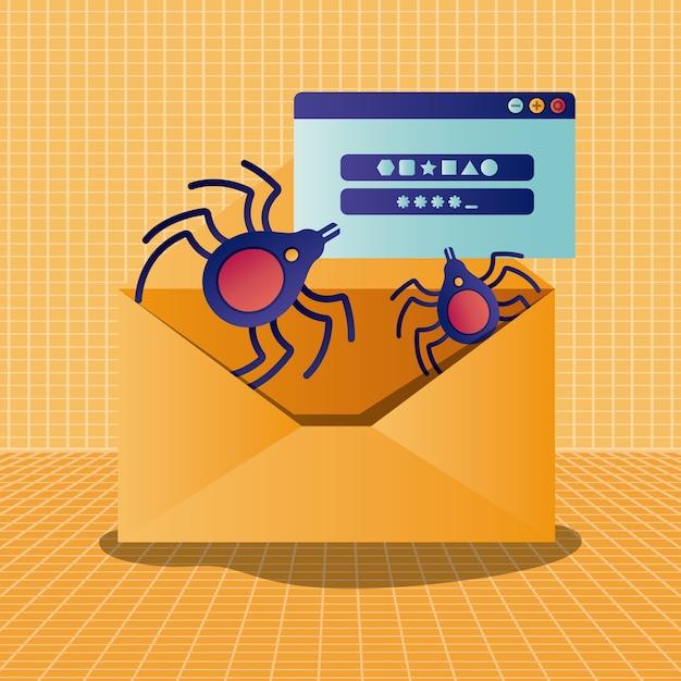 Cyberbeveiliging met envelop Premium Vector