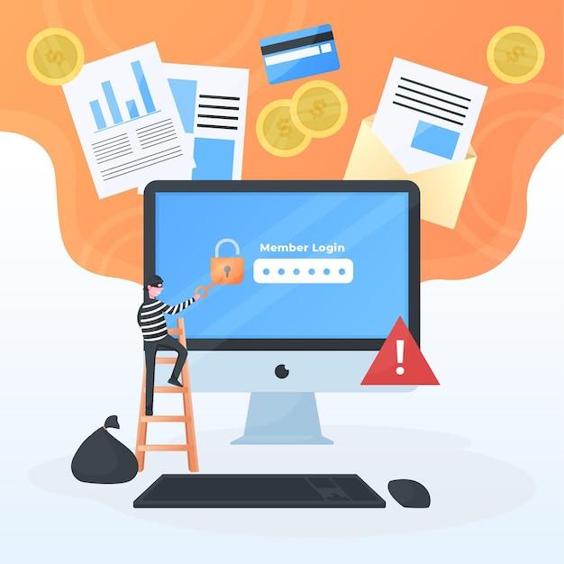 Cyberbeveiliging met mens en computer Gratis Vector