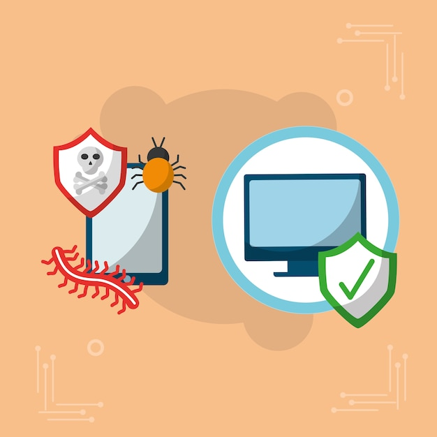 Cyberbeveiliging mobiel vinkje voor apparaten en apparaten ok Premium Vector
