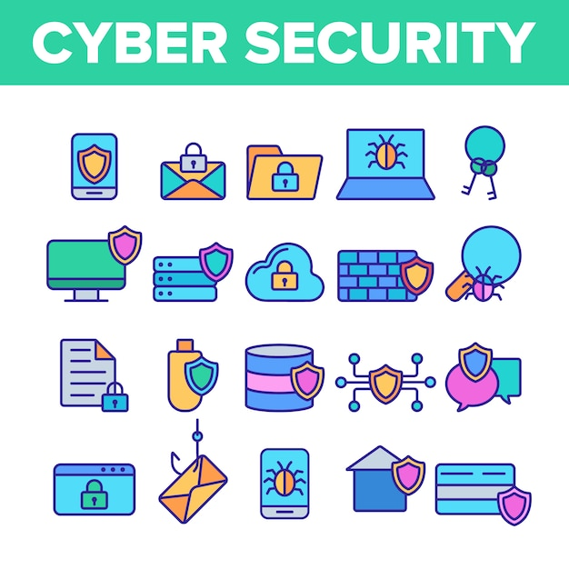 Cyberbeveiliging Premium Vector