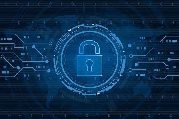 Cyberbeveiligingstechnologieconcept, schild met sleutelgatpictogram met wereldkaartachtergrond, persoonlijke gegevens, Premium Vector