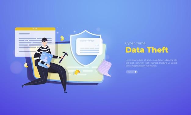 Cybercriminaliteit over gegevensdiefstal illustratie concept Premium Vector