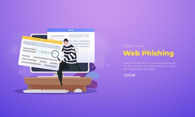Cybercriminaliteit web phishing illustratie concept Premium Vector