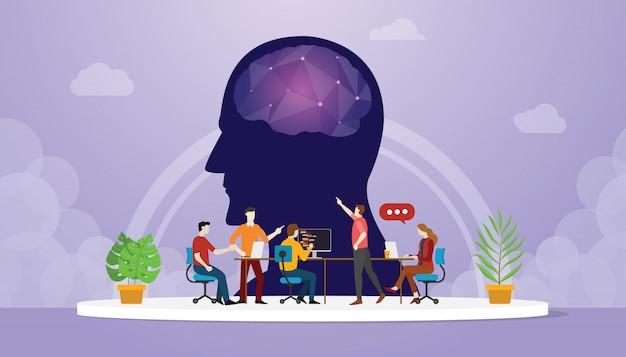 Cybergeestontwikkeling gericht op teamontwikkelaar Premium Vector