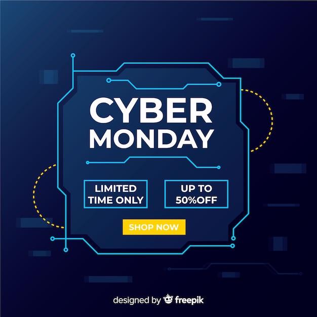 Cybermaandag in plat ontwerp Gratis Vector