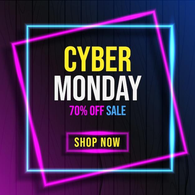 Cybermaandag met neonlichtbanner Premium Vector