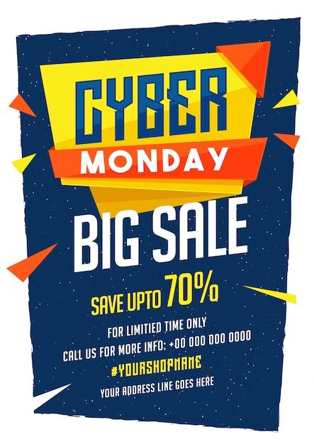 Cybermaandag sale-bannerdesign met kortingsaanbieding. Premium Vector