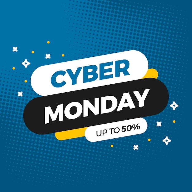 Cybermaandag verkoop banner sjabloonontwerp Gratis Vector