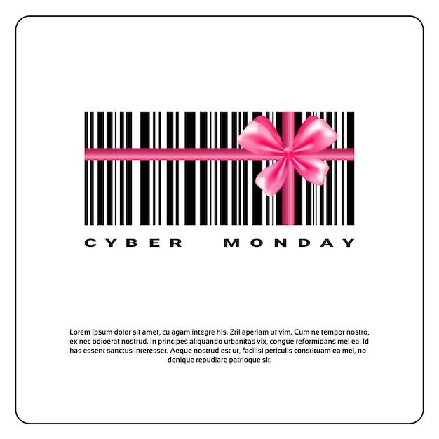 Cybermaandagachtergrond met streepjescode en het roze ontwerp van de boogverkoopbanner Premium Vector