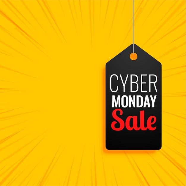Cybermaandagbanner met verkoopmarkering op geel Gratis Vector