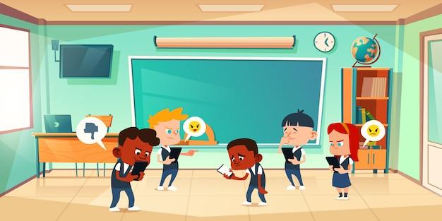 Cyberpesten op school, conflict en geweld Gratis Vector