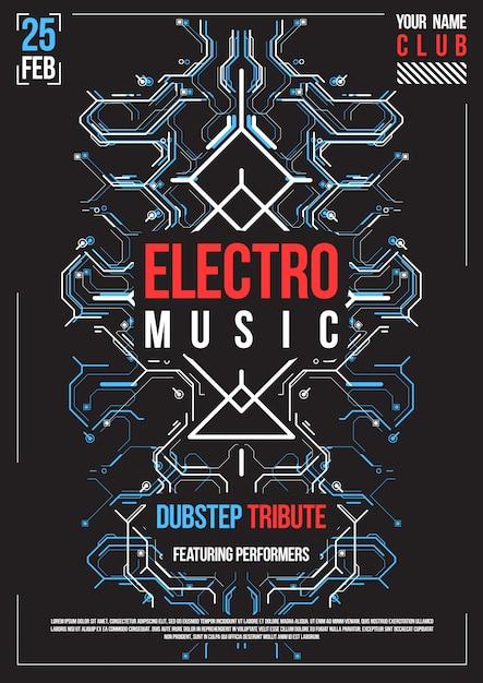 Cyberpunk futuristische poster. retro futuristische poster sjabloon. elektronische muzieklay-out. modern clubfeest flyer. Premium Vector