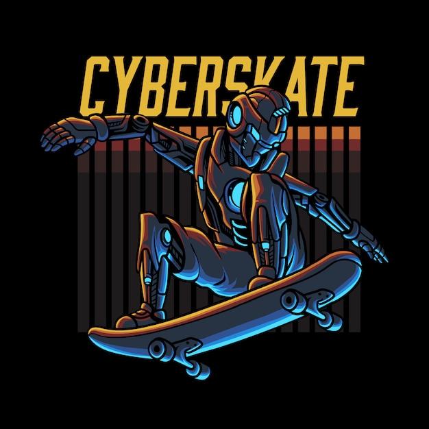 Cyberrobot skateboarden illustratie Premium Vector