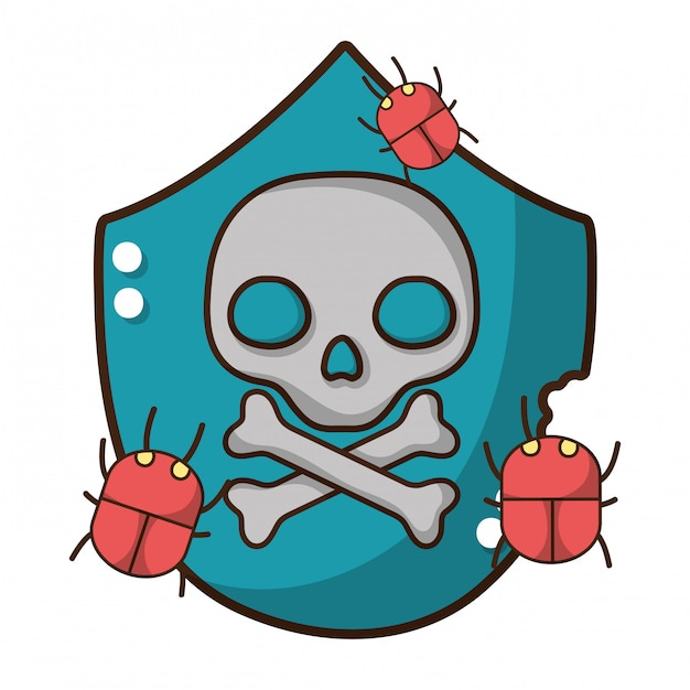 Cybersecurity dreigingscartoon Premium Vector
