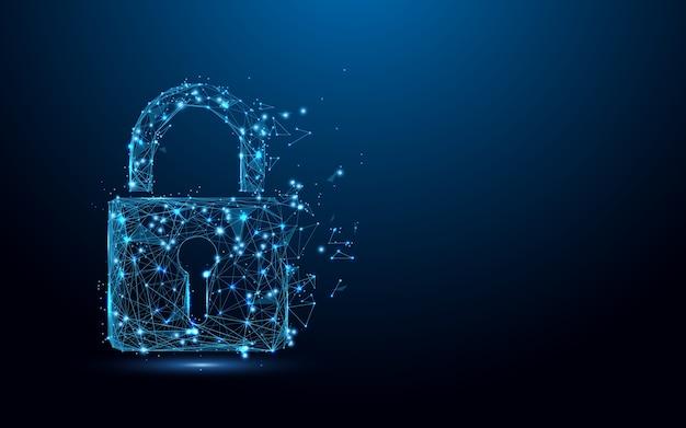 Cybersecurity slot symboolvorm lijnen deeltje Premium Vector