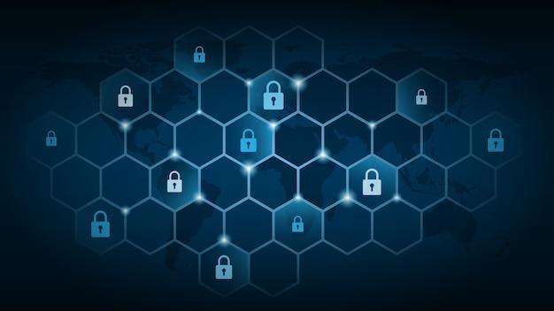 Cybertechnologiebeveiliging, netwerkbeschermingsachtergrond Premium Vector