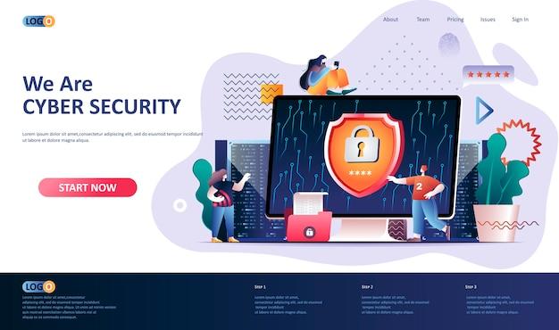 Cyberveiligheid bestemmingspagina sjabloon illustratie Premium Vector