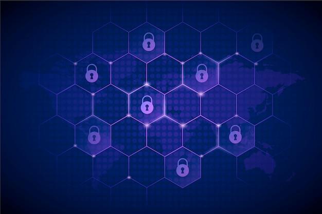 Cyberveiligheidsachtergrond met futuristische elementen Gratis Vector