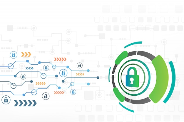 Cyberveiligheidsconcept abstracte technologieachtergrond Premium Vector