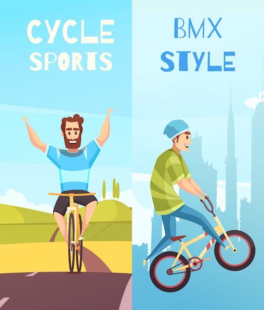 Cycle racing verticale cartoon banner set Gratis Vector