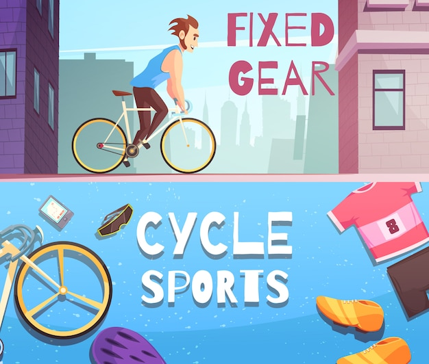Cycle sports horizontale cartoon banner set Gratis Vector