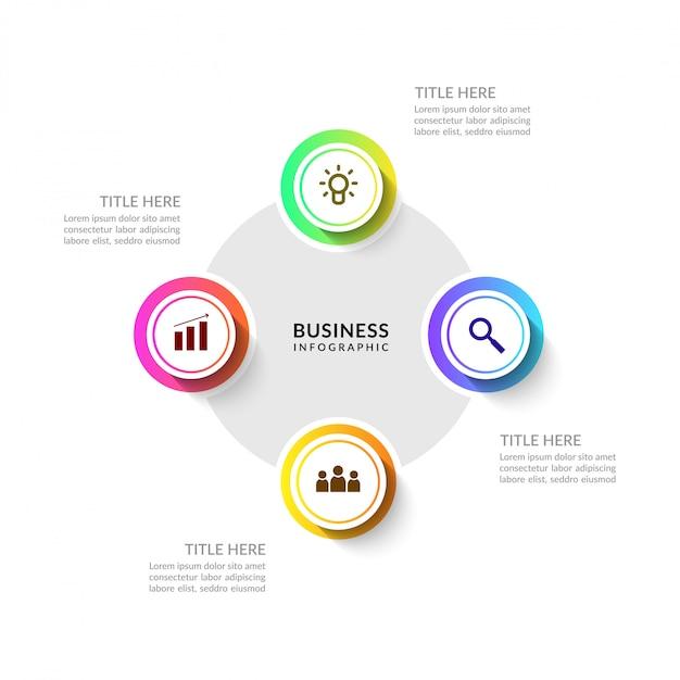 Cyclus bedrijfsproces infographic met meerdere opties Premium Vector