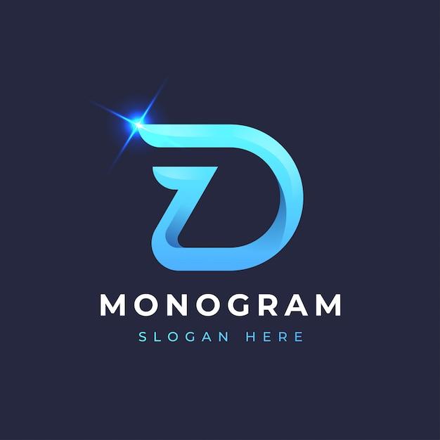 D blauw monogram logo-ontwerp Premium Vector