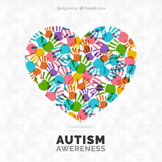 Dag autisme achtergrond met kleurrijke handafdrukken Gratis Vector
