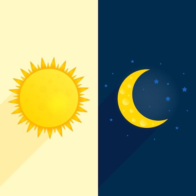Dag en nacht illustratie Premium Vector