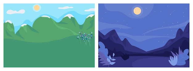 Dag en nacht landschap egale kleur illustratie set Premium Vector