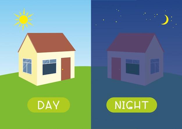 Dag en nacht met huis Premium Vector