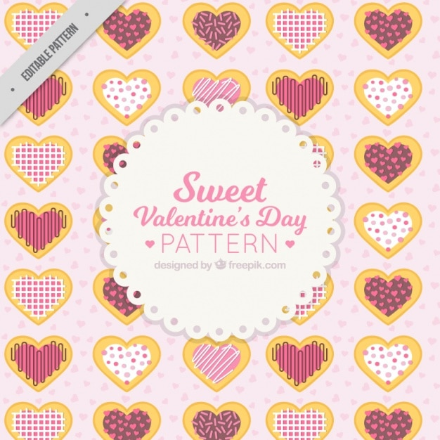 Dag sweet valentijnsdag patroon Gratis Vector