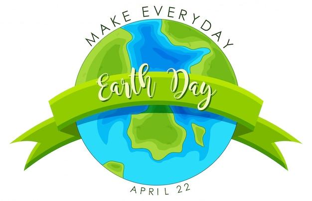 Dag van de aarde concept Gratis Vector