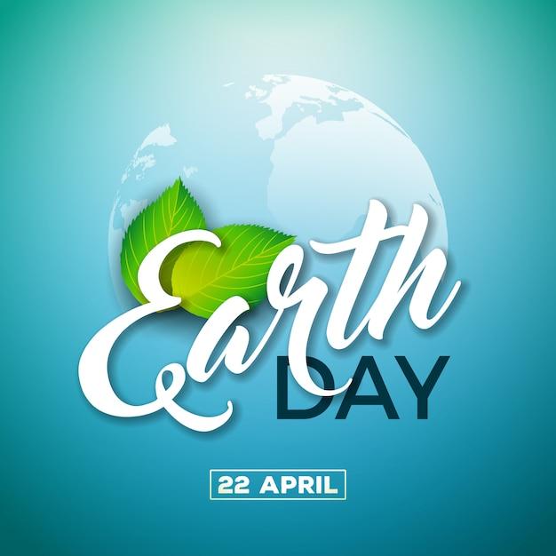 Dag van de aarde illustratie met planeet en groen blad. Premium Vector