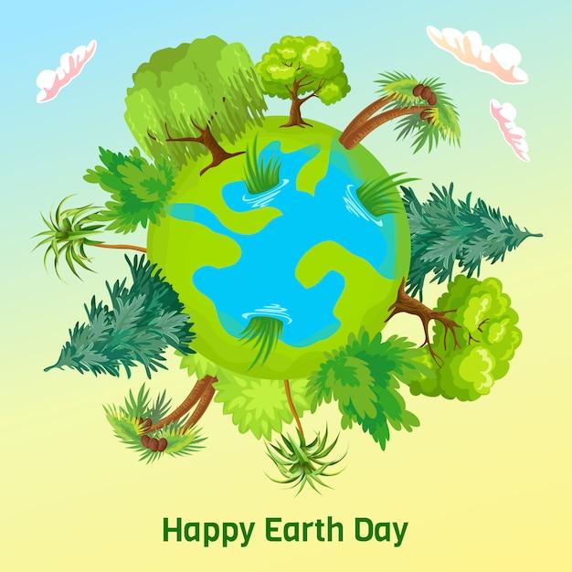 Dag van de aarde. vector cartoon kaart. Gratis Vector