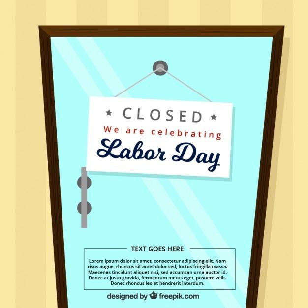 Dag van de arbeid achtergrond met gesloten deur Gratis Vector