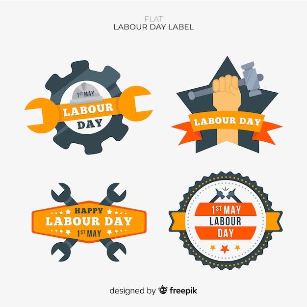 Dag van de arbeid badge-collectie Gratis Vector