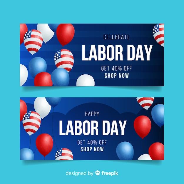 Dag van de arbeid banner voor verkoop Gratis Vector
