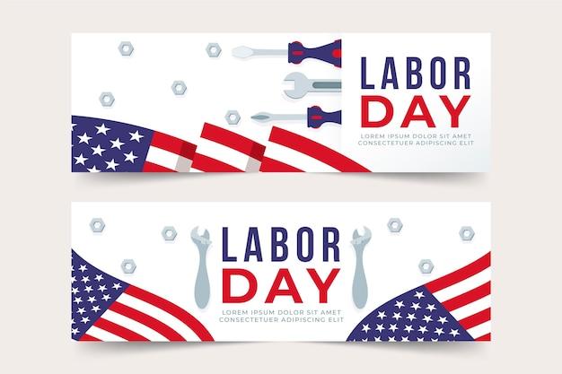 Dag van de arbeid banners pack thema Gratis Vector