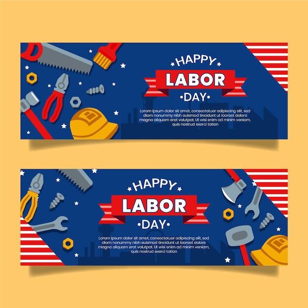 Dag van de arbeid banners Gratis Vector
