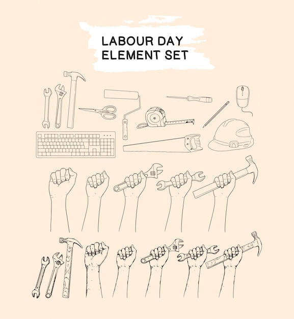 Dag van de arbeid element set hand tekenen collectie Premium Vector