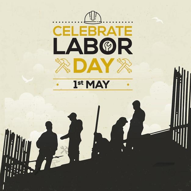 Dag van de arbeid of internationale dag vieren Premium Vector